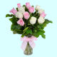 Buy Pink And White Roses Bunch