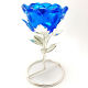 Buy Blue Glass Candle Holder With Candle