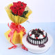 Buy 8 Red Roses With Black Forest Cake