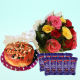 Buy Mix Roses And Plum Cake With Chocolates